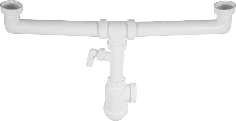 A448P Sifon pro dvoudřez s převl. maticemi 6/4˝a přípojkou, skladem