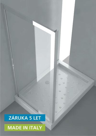 ANTA FISSA S Hopa Pevná skleněná zástěna, 68 - 74 × 190 (v) cm, leštěný hliník, čiré sklo, skladem