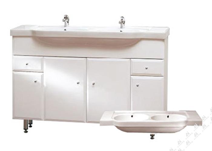 BEATA 130 ZV Well Koupelnová skříňka s dvojumyvadlem, závěsná s nožičkami, skladem
