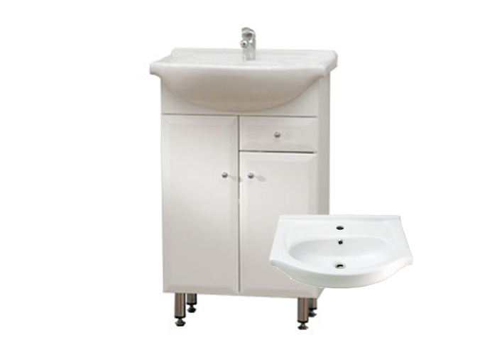 BEATA S 50 ZV Well Koupelnová skříňka s umyvadlem, závěsná s nožičkami, zásuvka , skladem