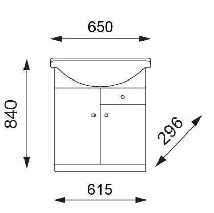 BEATA S 65 Well Koupelnová skříňka s umyvadlem, sokl, zásuvka , skladem
