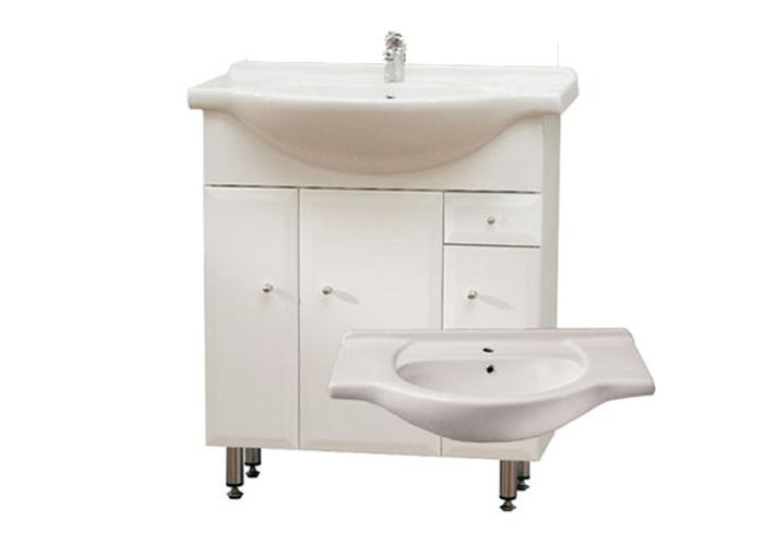 BEATA S 75 ZV Well Koupelnová skříňka s umyvadlem, závěsná s nožičkami, zásuvka , skladem