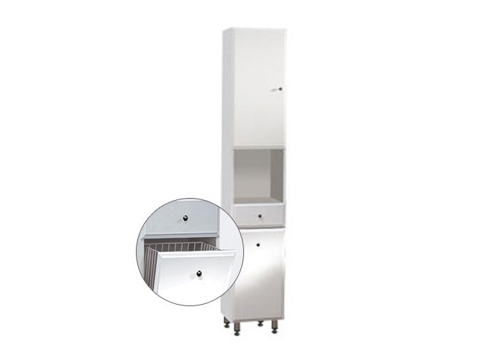 BEATA VK 32 ZV L Well Koupelnová skříňka vysoká, závěsná s nožičkami, koš, levá, skladem