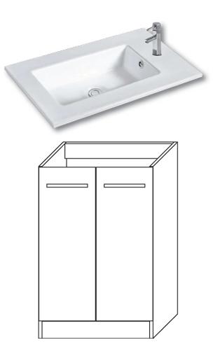 F-STANDARD-U55 Olsen-spa Skříňka s umyvadlem 55 cm, sokl, bílá, skladem