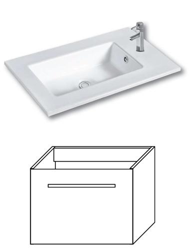 F-EXCLUSIVE-U55 Olsen-spa Skříňka s umyvadlem 55 cm, závěsná, bílá, skladem