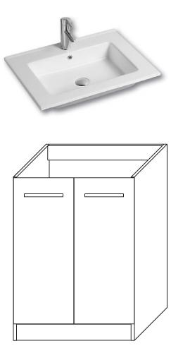 F-STANDARD-U60 Olsen-spa Skříňka s umyvadlem 60 cm, sokl, ořech dijon, skladem