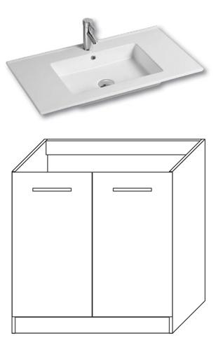 F-STANDARD-U80 Olsen-spa Skříňka s umyvadlem 80 cm, sokl, ořech dijon, skladem