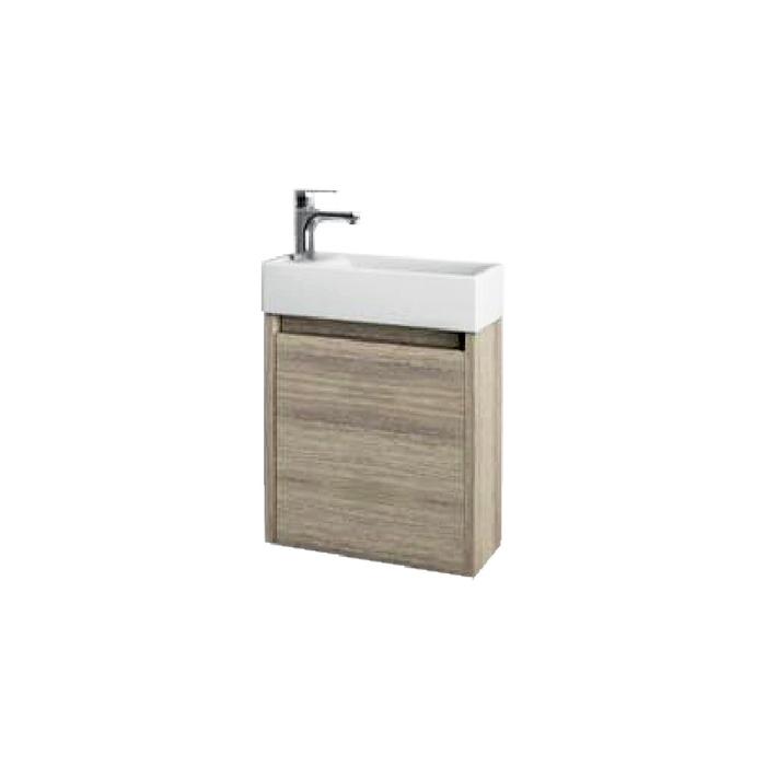 SAGE 40 Oak L Well Koupelnová skříňka s umyvadlem, závěsná, levá, skladem
