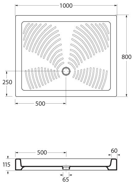 STELLA 100x80 Hopa vanička sprchová keramická, skladem