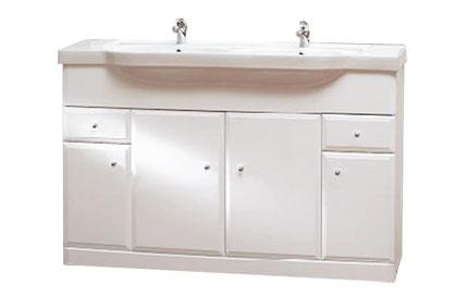 BEATA 130 Well Koupelnová skříňka s dvojumyvadlem, sokl , skladem
